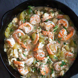 Baked Shrimp with Tomatillos.