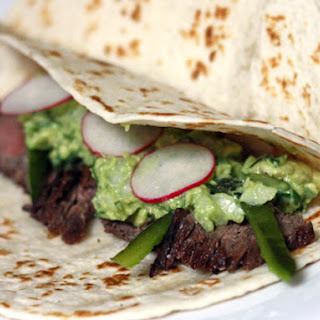 Grilled Skirt Steak with Guacamole and Rajas