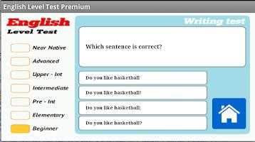 Screenshot of English Level Test