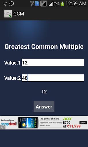 GCM GCD Finder For Numbers