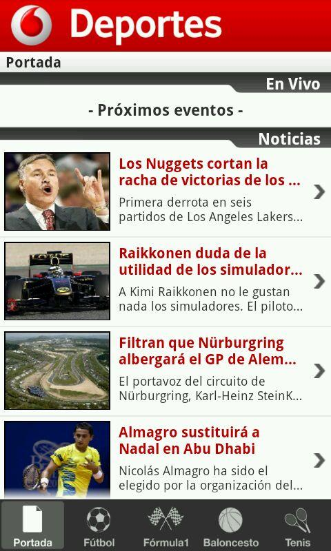 Deportes- screenshot