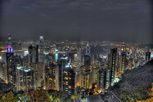 Hong-Kong-Victoria-Peak - Hong Kong as seen from Victoria Peak at night.