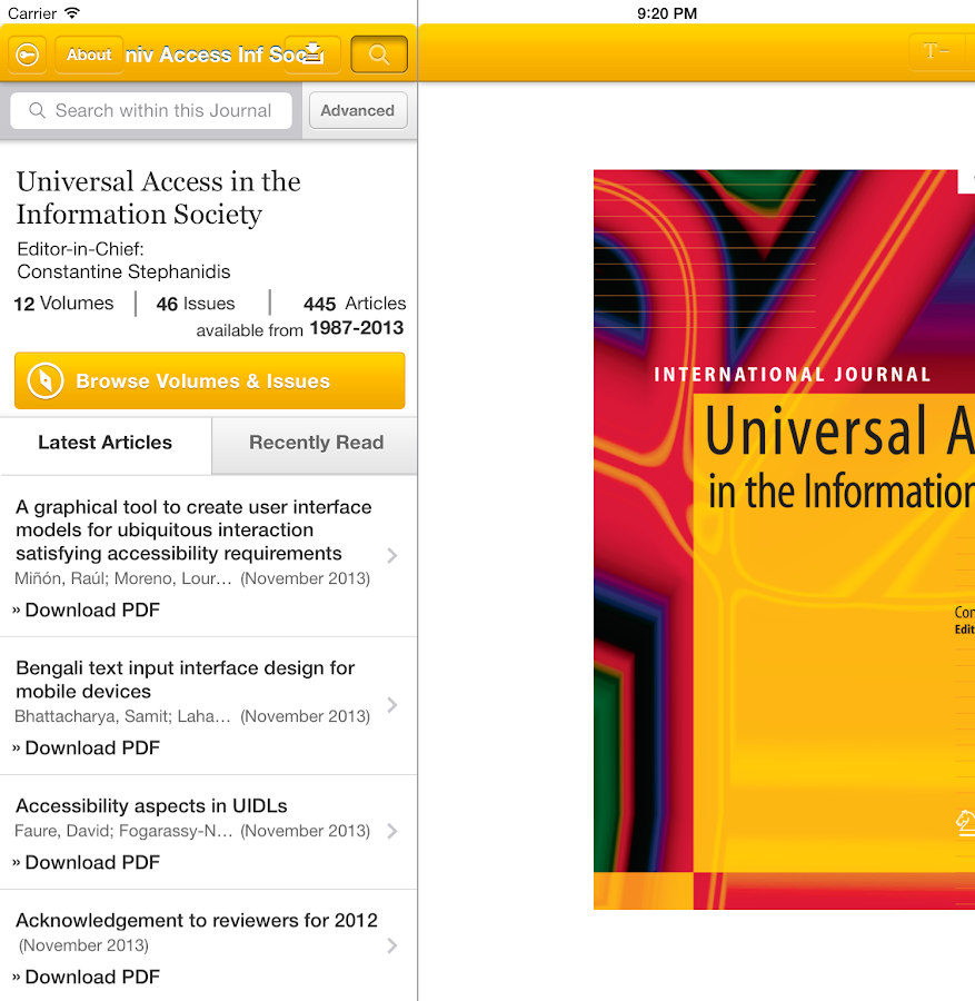 UAIS Journal- screenshot
