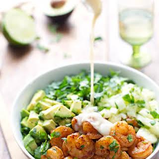 Shrimp and Avocado Salad with Miso Dressing.