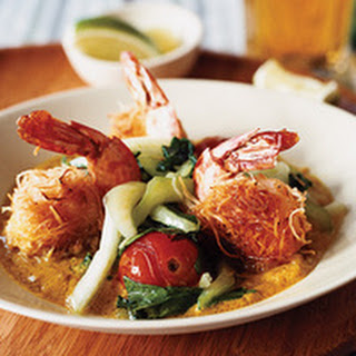 Coconut-Crusted Shrimp with Peanut Butter Curry Sauce.