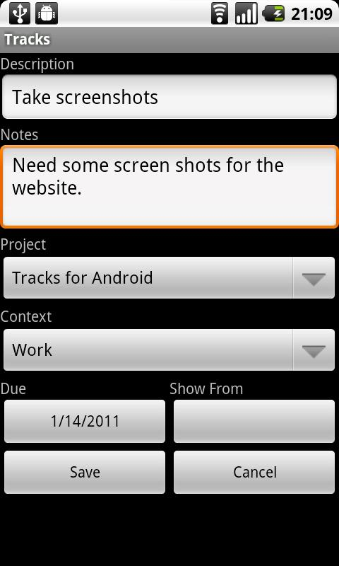 Tracks for Android- screenshot