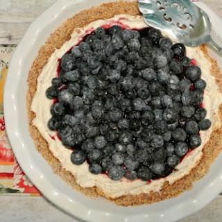 Honey Roasted Almond Crusted Blueberry Cheesecake.