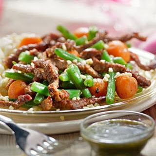 Beef Chimichurry met rundvleesreepjes, wortel en sperziebonen