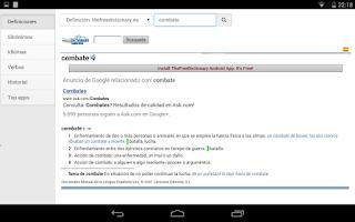 Screenshot of Free Spanish Dictionaries