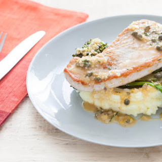 Turkey Cutlets with Mashed Potatoes, Roasted Broccoli & Caper Sauce.