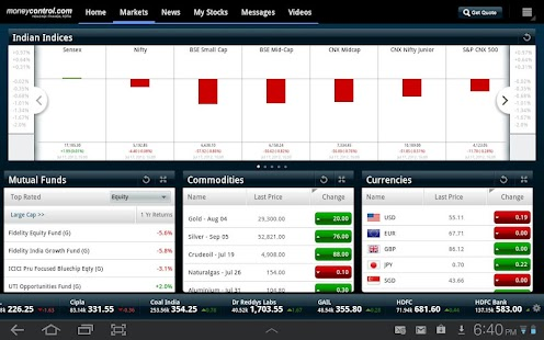 moneycontrol for Tablet - screenshot thumbnail