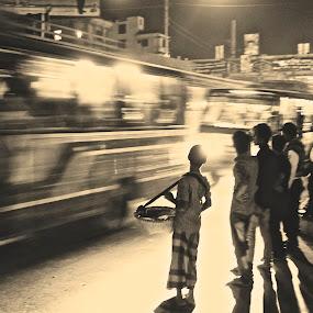 Dark is the Night by Jyoti Chowdhury - City,  Street & Park  Street Scenes ( buses, street, dark, night )