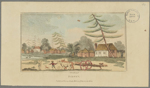 Sydney, 1803, hand coloured engraving by V. Woodthorpe.