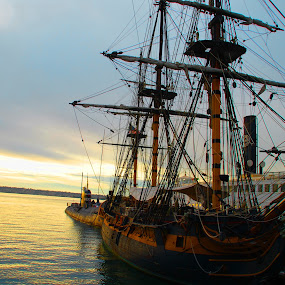 Sailing Ship Star of India by Nancy Lowrie - Transportation Boats ( ship. sailing, sunset, transportation, boat,  )