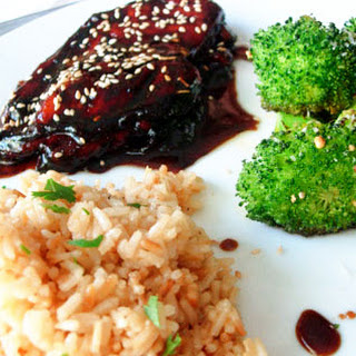 Balsamic-Glazed Chicken Breasts with Toasted Rice.