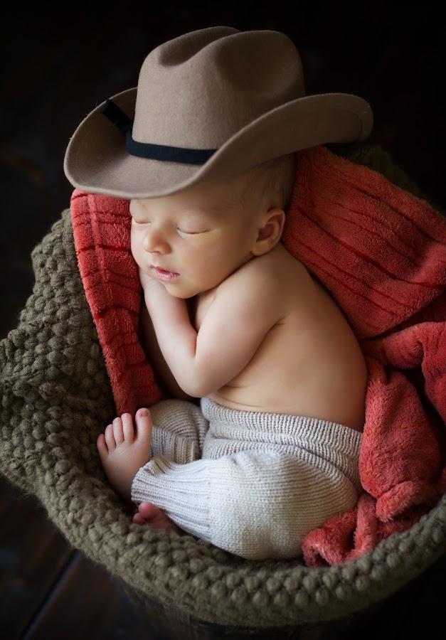 Miniature Cowboy by Sarah Moore - Babies & Children Babies ( babies, sleeping baby, cowboy hat, newborn,  )