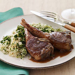 Lamb Chops with Spinach Rice Pilaf