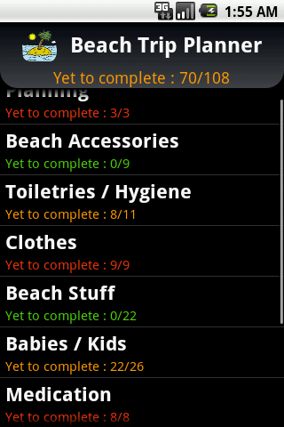 Beach Trip Planner - screenshot