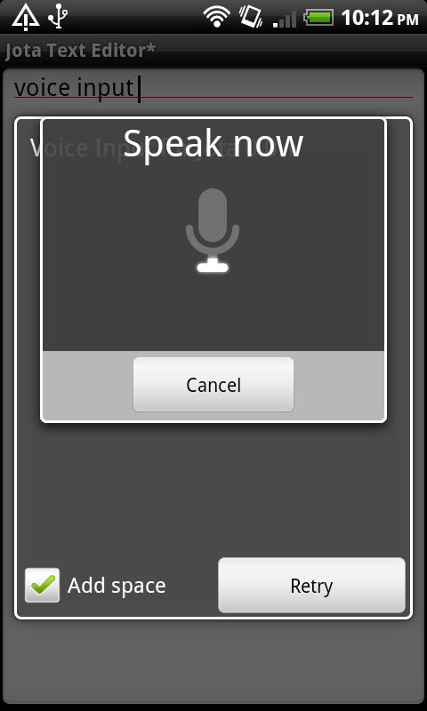 Voice Input for Jota- screenshot