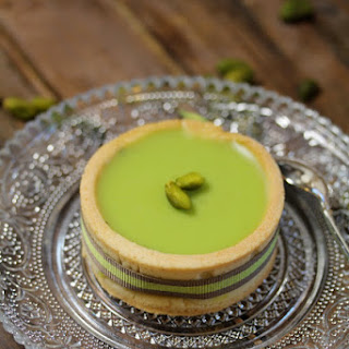 White Chocolate and Pistachio Ganache Tartletts.