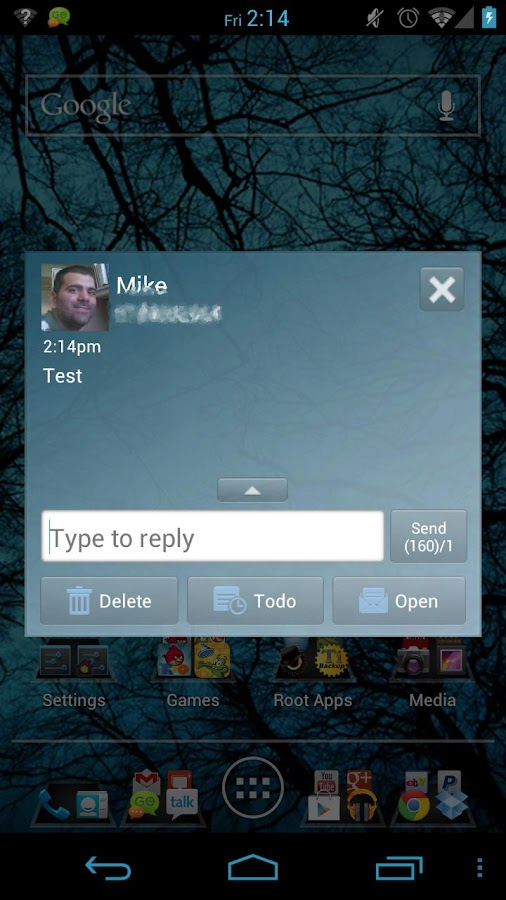 Clean Blue/ICS GOSMS PRO - screenshot