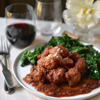 Veal Meatballs in Red Wine Sauce.