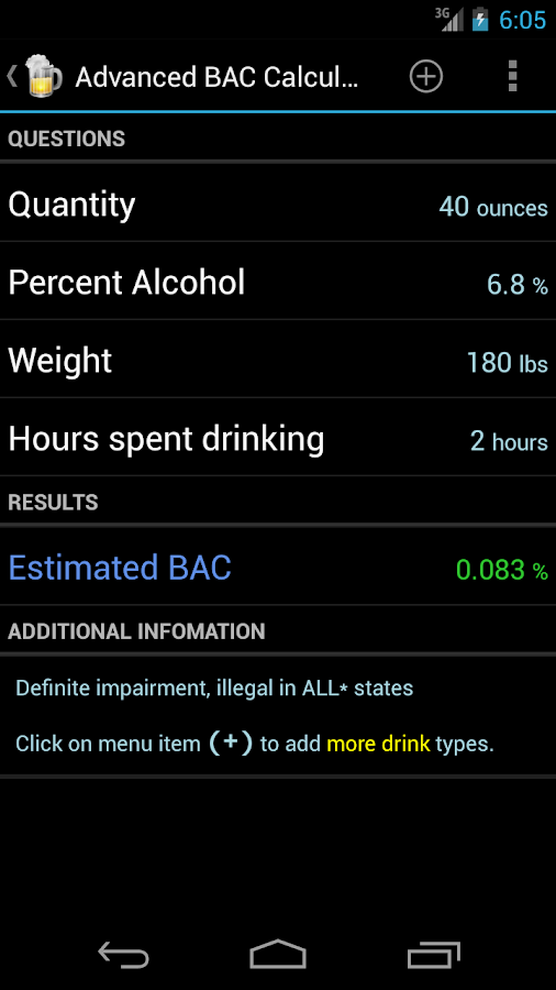 Blood Alcohol Calculator- screenshot