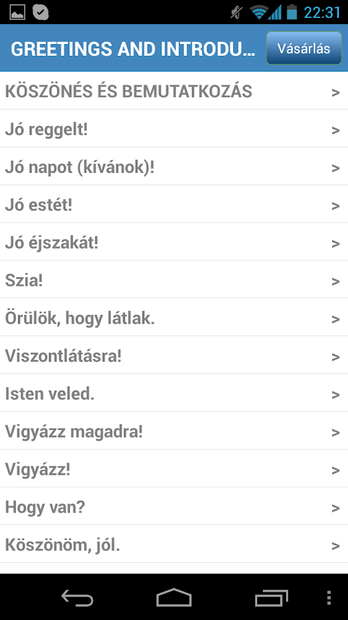 Útiszótár- screenshot