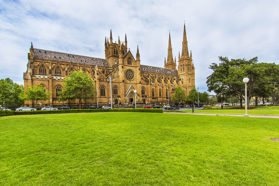 St Mary's Cathedral, Hyde park by Gayan Wijesinghe - City,  Street & Park  City Parks ( clear, sky, park, hyde park, blue, grass, green, australia, st mary's cathedral, spring, sydney,  )
