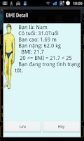 Screenshot of Chỉ số sức khỏe BMI