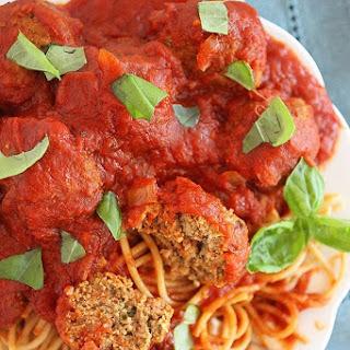Slow Cooker Turkey Pesto Meatballs & Marinara