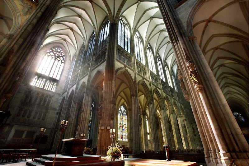 Inside Cologne Cathedral in Germany.