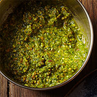Pistachio-Arugula Pesto Sauce.