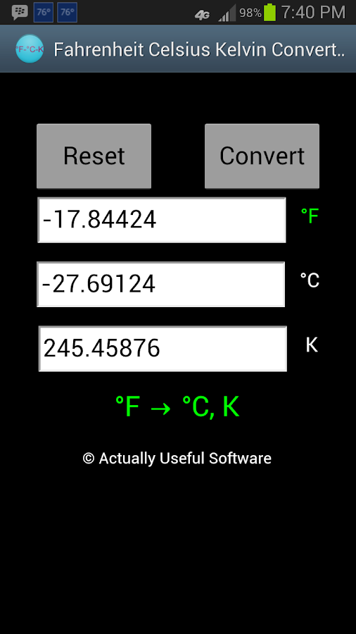 Fahrenheit celsius kelvin temperature converter android for 0 kelvin to celsius conversion table