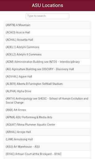 Arizona State Campus Map ASU