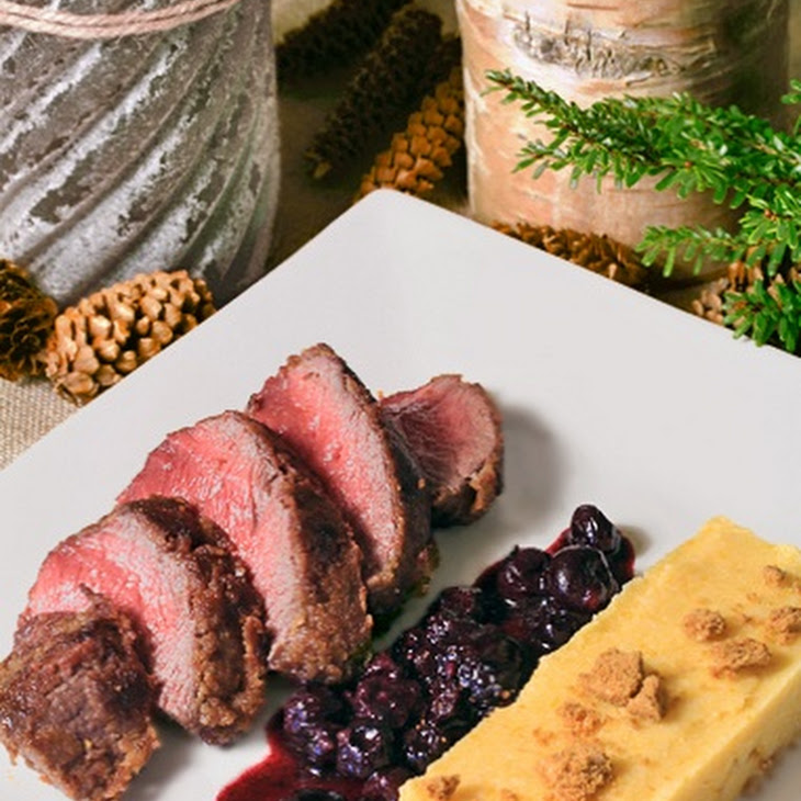 Crispy Venison Steaks with SpéCuloos Crust and Blueberry Sauce Recipe