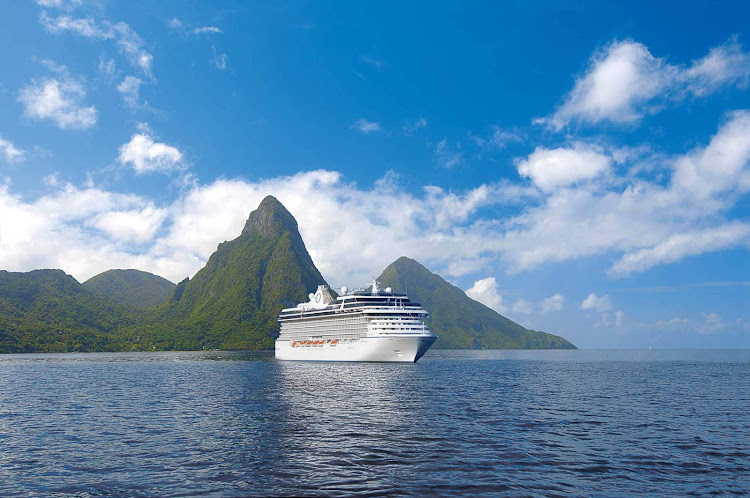 Sail to the beautiful Caribbean island nation of St. Lucia on the sleek Oceania Riviera.