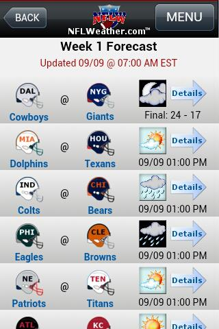 NFLWeather & Scores - screenshot