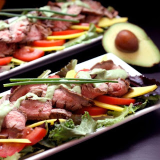 Grilled Steak and Mango Salad with Avocado Buttermilk Ranch Dressing.