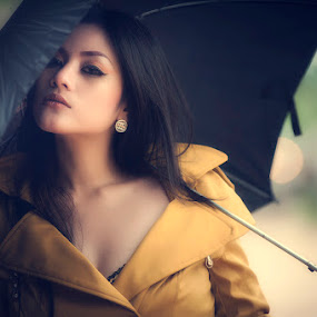 Girl with black umbrella by ARE Samudra - People Portraits of Women ( model, girl, vintage, woman, umbrella, black )