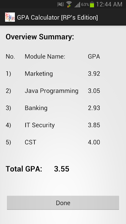 GPA Calculator RPs Edition Android Apps on Google Play – Gpa Chart