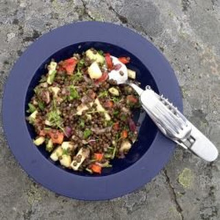 Beluga Lentil Salad with Avocado, Apple and Summer Herbs.