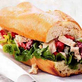 Tuna and Olive Salad Sandwich.