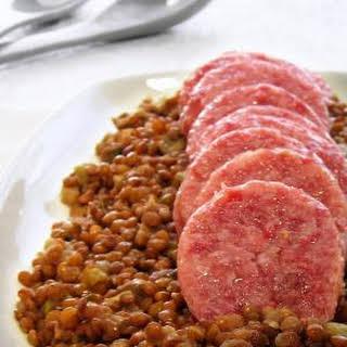 Pressure Cooked Pork Sausage & Lentils - one pot meal.