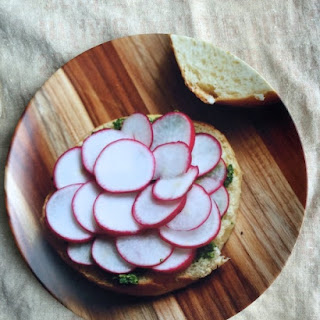 Radish & Radish Leaf Pesto with Avocado on Brioche