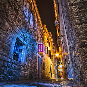 Trogir nights by MIhail Syarov - City,  Street & Park  Street Scenes ( blue, old city, lamp, trogir, night, , orange. color )
