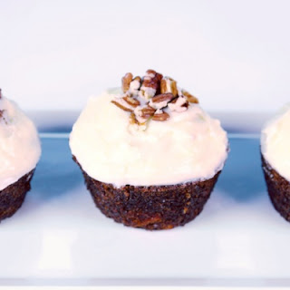 Carrot Cake Cupcakes with Ginger Cream Cheese Frosting.