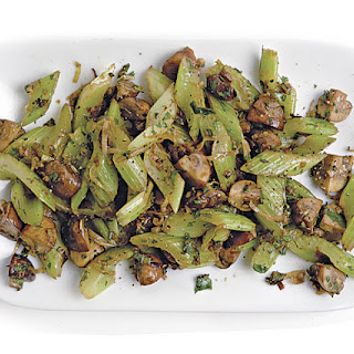 Sautéed Celery with Leeks and Mushrooms.