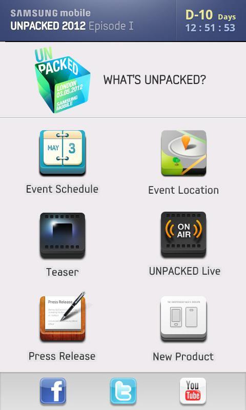 SAMSUNG mobile UNPACKED 2012 - screenshot