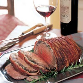 Roasted Beef Tenderloin Wrapped in Bacon.